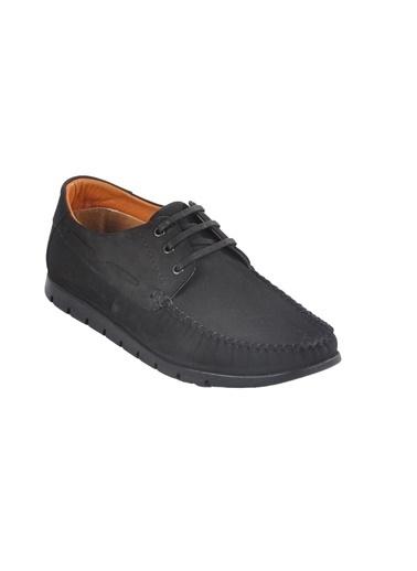 Ayakmod 415 Hakiki Deri Siyah-Nubuk Erkek Günlük Ayakkabı Siyah